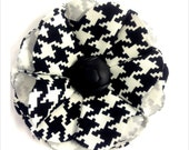 flower pin in black and white Houndstooth - Roll Tide