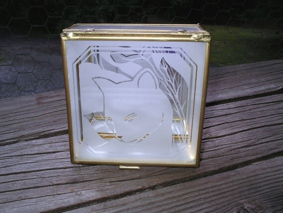 Elegant Cat Etched on a Glass Trinket Box - Vintage Hallmark Crowning Touch