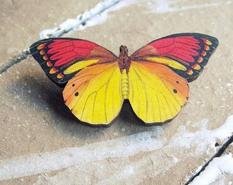 Red Yellow Butterfly Brooch