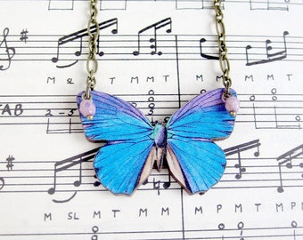 Blue Butterfly Necklace Insect Jewelry