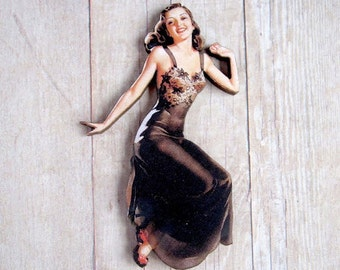 Pinup Girl Brooch Black Lingerie