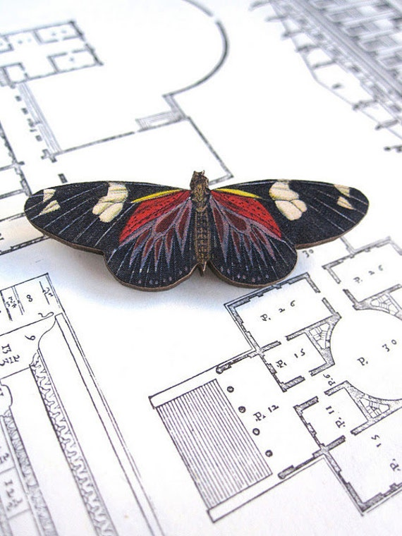 Wood Butterfly Brooch Insect Jewelry