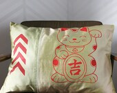 Burnt Orange Lucky Cat and Chevrons on Green and Tan Silk Pillow