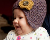 Crochet Hat for Baby Girl 3 - 6 months 100% Wool, Polar Fleece Lining
