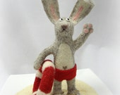 Needle Felted - Bunny Rescue in red shorts (pants) with lifebuoy in a gift box - Soft Sculpture, OOAK