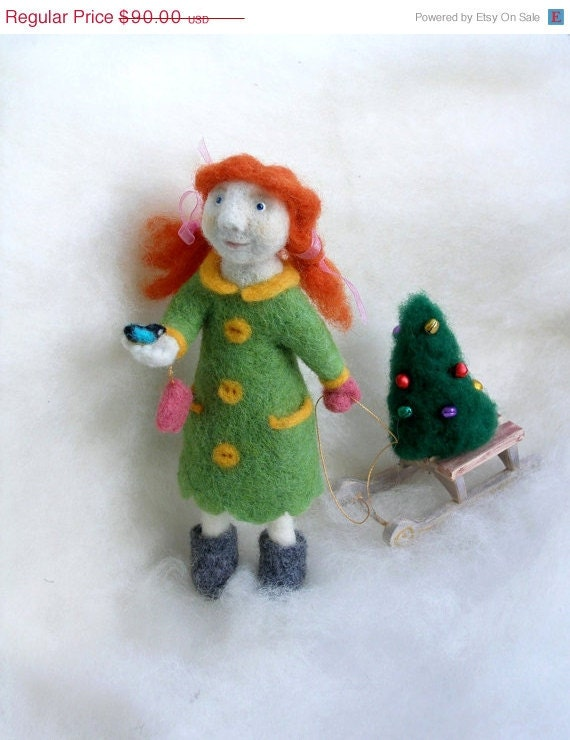 ON SALE Needle Felted Art Doll  - The Girl and the Christmas Tree - soft sculpture, OOAK