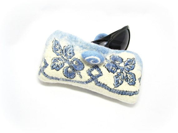 Nuno Felted  Eye Glass Case Blue and White Gzhel Ready to Ship