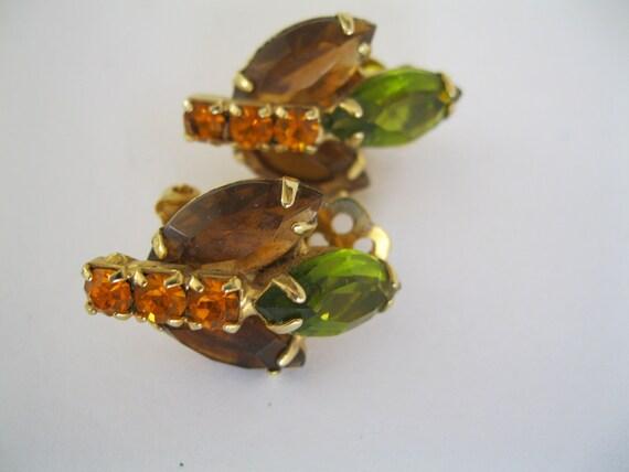 SALE 50 percent off  Earrings Vintage Multi Color Clip Ons