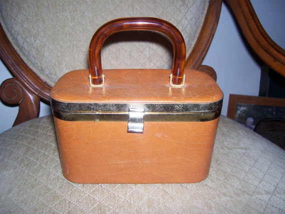 Vintage Leather Box Purse with Lucite Handle