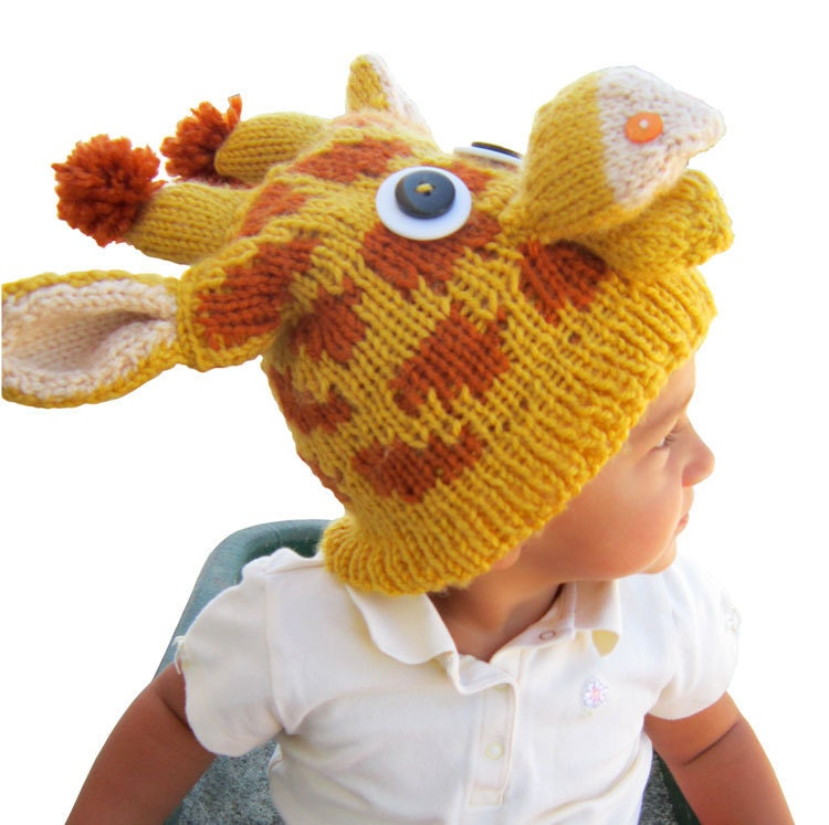 Knitting Pattern Giraffe : PATTERN Knit Giraffe Hat