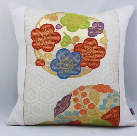 Vintage Japanese Fukuro Kimono Pillow Cover. Vintage Cushion. Kimono Pillow