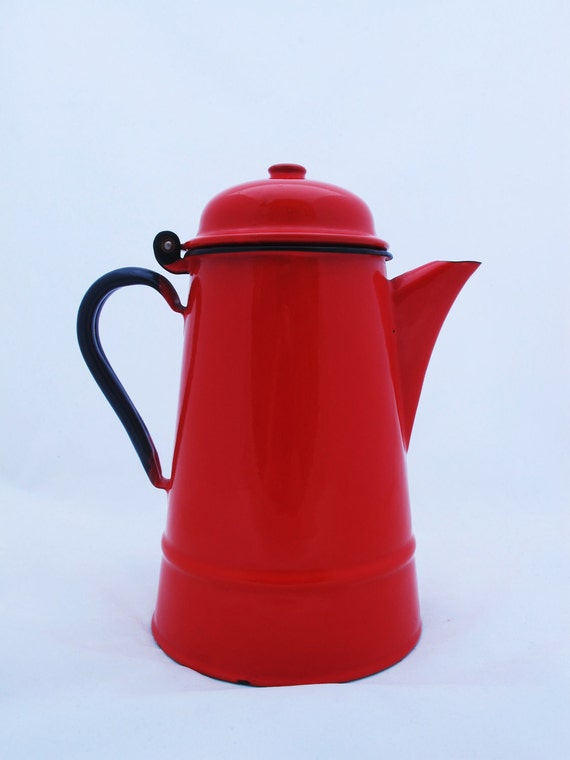 Large Red Enamel Coffee Pot, Shabby Chic. Rustic Pitcher. Enamel Pitcher.