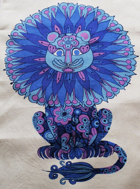 "Fab ""DandyLion"" Retro Pure Irish Linen Tea Towel, Dish Towel  Designed For Oxfam,Vintage Dishcloth"
