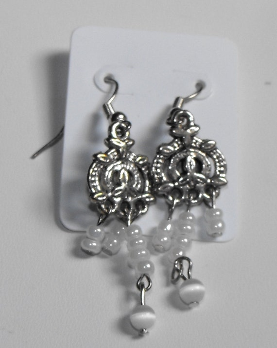 Cat's Eye Glass Beads With Faux Pearl Earrings