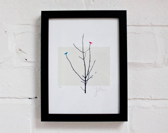 Two birds in a tree - Signed Limited Edition Screenprint