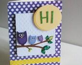 """Sale, Sale, Sale, Purple Owl """"HI"""" Card, Hello, Nature, Blank Inside"""
