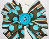 Beautiful Blue and Brown Stripe Boutique Bow.
