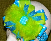 Beautiful Blue and Green Boutique Bow.