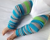 Spring Turquoise Stripe Baby Legs / Boy Leg Warmers