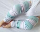 Aquamarine Thick Stripe Baby Legs / Boy Leg Warmers