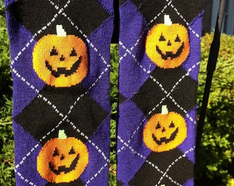 Halloween Pumpkin Argyle Baby Legs / Leg Warmers /Leggings