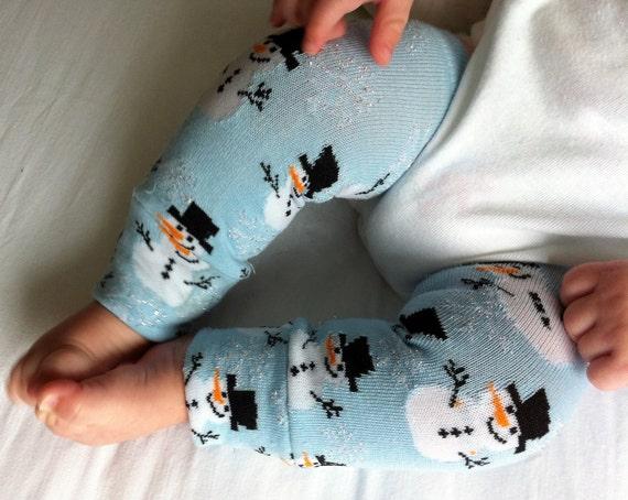 Snowman Snowflake Blue Baby Legs / Leg Warmers