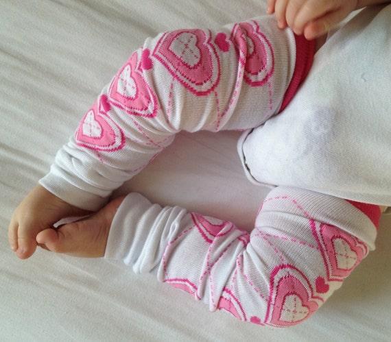 Pink Heart Argyle Baby Legs/ Valetine's Day Leg Warmers