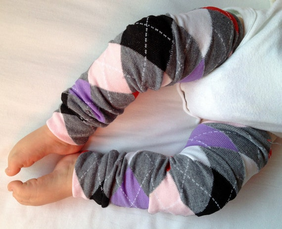 Pink Gray Red Purple Argyle Baby Legs / Leg Warmers / Arm Warmers