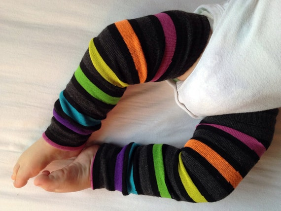 Gray Rainbow Stripe Baby Legs/ Leg Warmers