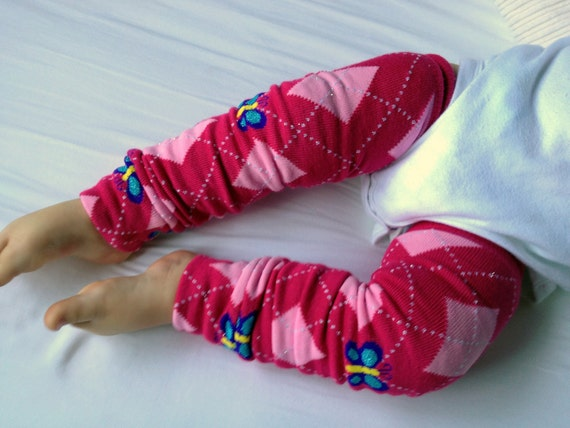 Butterfly Pink Argyle Baby Legs / Leg Warmers / Arm Warmers