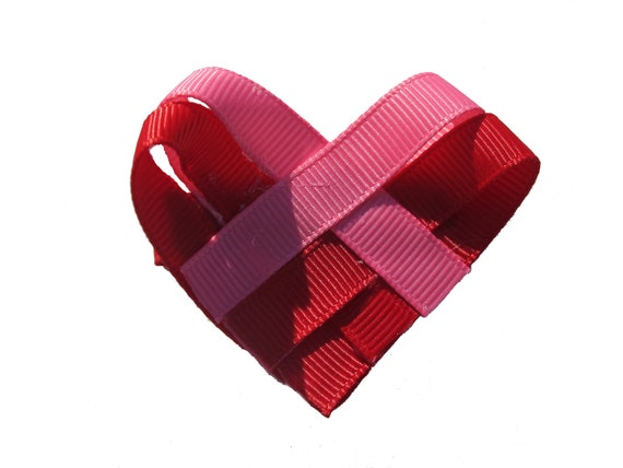 Woven Red and Pink Heart Valentine's Day Clippie
