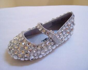 Hand Made Baby or Kids Wedding Flower Girl Rhinestone Flats Shoes Sz. 1-5