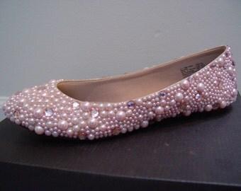 Hand Made Pink Rhinestone Flats Shoes