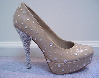 Hand Made Christian Louboutin Style Rhinestone High Heel Shoes