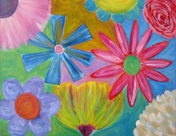 "Oil painting, Original painting, -""Burst""- 11x 14 flower painting"