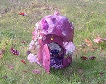The Burgundy Rose  Cobbit a miniature Faerie house