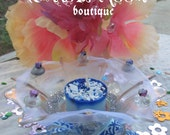Faerie Blue Votive Candle With Decorative Glass Bowl