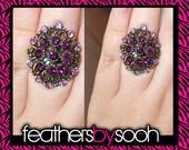 RESERVED for Jenn - Round Purple Rhinestone Ring