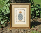 Vintage Cross Stitch Pineapple Sampler, Professionally Framed, Traditional Welcome Sign