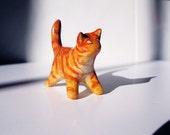 Clay Animal Miniature - Tiny Cat Sculpture Figurine - Orange Ginger Tabby Kitty - One of a Kind