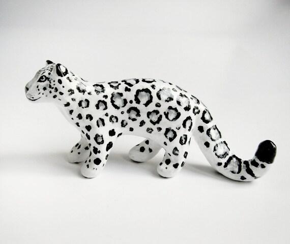 Snow Leopard Spirit Animal Totem - Clay Animal Miniature Sculpture - Black & White - Luna - One of a Kind
