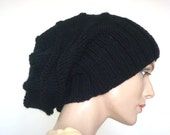 Knit Hat Hand Slouch Hat For Women or Men Black  Wool Hat Fall Fashion Winter Fashion --- Ready to Ship