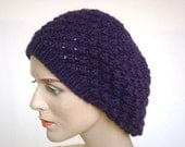 For Sale --Hand Knit Hat Slouch Hat Beret / Beanie Hat in White For Women Purple Fall Fashion Winter Fashion --- Ready to Ship