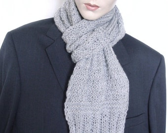 Hand Knit Scarf Knit Scarf Large Scarf  Unique Extra Long Soft  for Men & Women in Grey  --- Ready to Ship