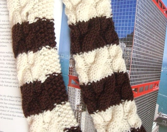 Cable Knit Fingerless Gloves Long Hand Knitted Gloves Arm Warmers Wrist Warmers Brown and Cream Strips --- Ready to Ship