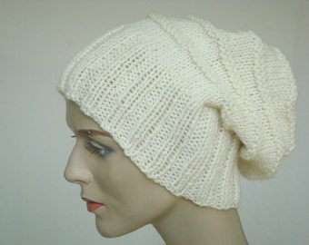 Knit Hat Hand Knit Hat Slouch Hat For Women or Men in Aran / Cream Fall Fashion Winter Fashion --- Ready to Ship