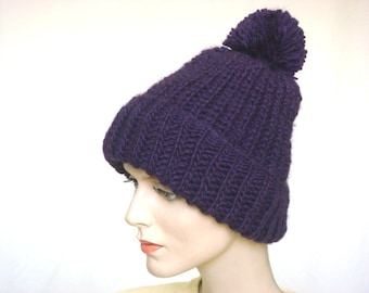 Hand Knit Hat Chunky Knit Hat Slouch Hat in Purple Fall Winter Fashion --- Ready to Ship
