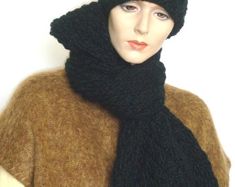 Knit Scarf Hand Knit Hat Set Chunky Knit Scarf Chunky Hat Knit Holiday Gift for Him or Her Black  ---Ready to Ship