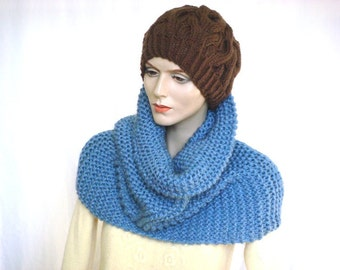 Oversize Chunky Knit Cowl Scarf Infinity Scarf  Knit Neckwarmer Snood in Seastorm Wool Blend --- Ready to Ship