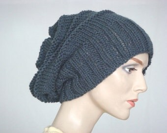 Hand Knit Hat Slouch Hat For Women or Men Mercury Wool Hat Fall Fashion Winter Fashion --- Ready to Ship
